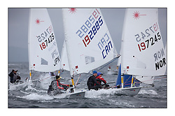 Rachael Merry, CAN 192885 and Cathrine Gjerpen, NOR 197245.Opening races in breezy conditions for the Laser Radial World Championships, taking place at Largs, Scotland GBR. ..118 Women from 35 different nations compete in the Olympic Women's Laser Radial fleet and 104 Men from 30 different nations. .All three 2008 Women's Laser Radial Olympic Medallists are competing. .The Laser Radial World Championships take place every year. This is the first time they have been held in Scotland and are part of the initiaitve to bring key world class events to Britain in the lead up to the 2012 Olympic Games. .The Laser is the world's most popular singlehanded sailing dinghy and is sailed and raced worldwide. ..Further media information from .laserworlds@gmail.com.event press officer mobile +44 7775 671973  and +44 1475 675129 .