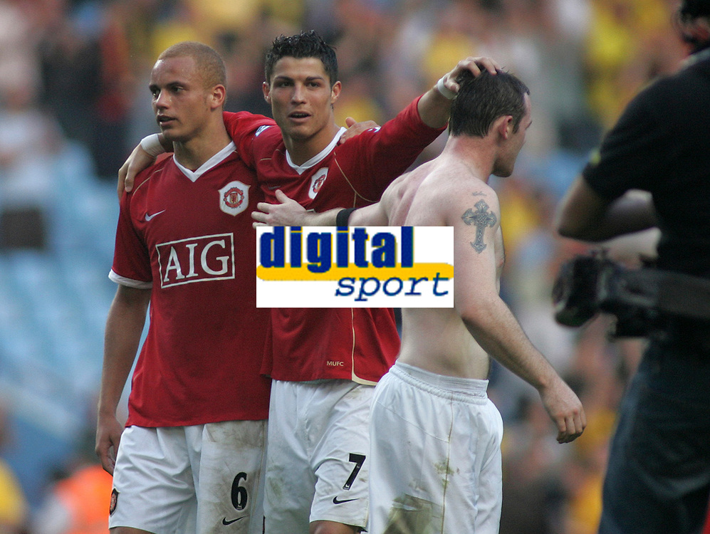 Photo: Paul Thomas.<br /> Watford v Manchester United. The FA Cup, Semi Final. 14/04/2007.<br /> <br /> Utd players (L-R) Wes Brown, Cristiano Ronaldo and Wayne Rooney celebrate the win.