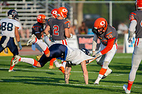 KELOWNA, BC - AUGUST 3:  Tyler Going #20 of Okanagan Sun tackles a player of the Kamloops Broncos  at the Apple Bowl on August 3, 2019 in Kelowna, Canada. (Photo by Marissa Baecker/Shoot the Breeze)