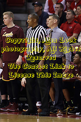 10 January 2018:  Roland Simmons and Porter Moser share the space during a College mens basketball game between the Loyola Chicago Ramblers and Illinois State Redbirds in Redbird Arena, Normal IL