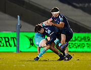 Sale Sharks flanker Tom Curry and Jono Ross combine to tackle Warriors full-back Chris Pennell during the Gallagher Premiership match Sale Sharks -V- Worcester Warriors at The AJ Bell Stadium, Greater Manchester,England United Kingdom, Friday, January 08, 2021. (Steve Flynn/Image of Sport)