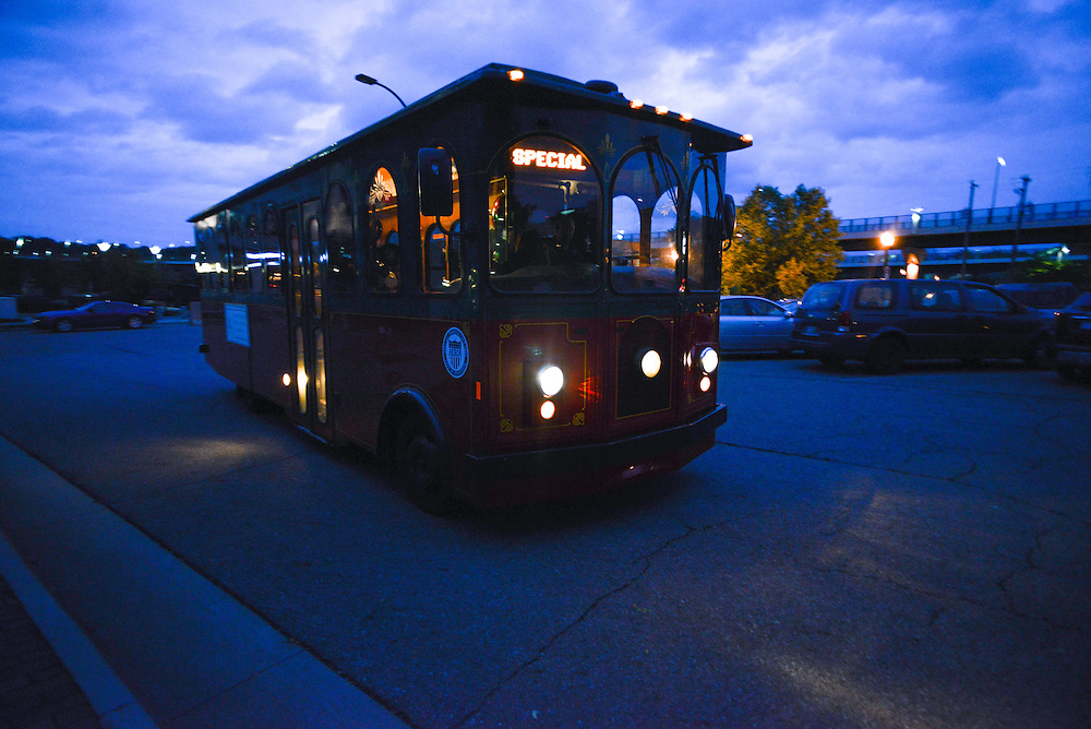 Trolley transporting passengers during Akron Art Prize 2014.