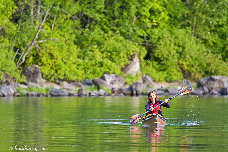 Sea kayaking at Whitefish Lake State Park in Montana model released
