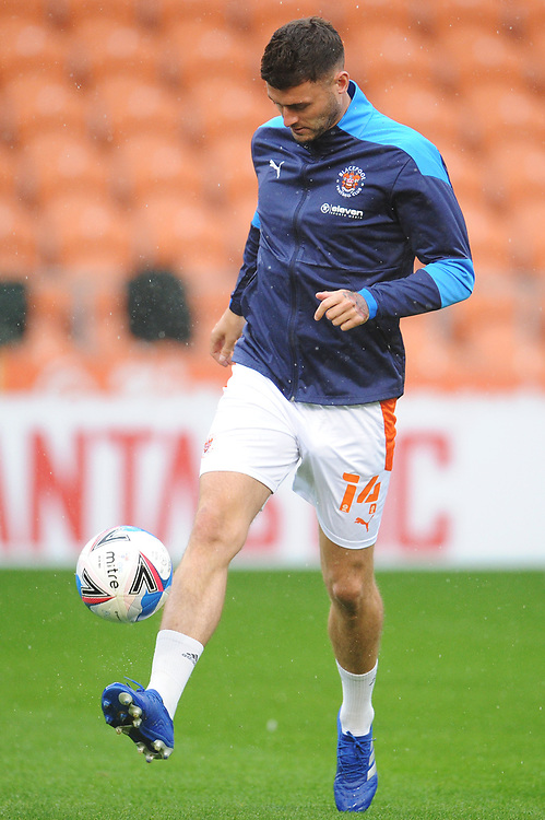 Blackpool's Gary Madine during the pre-match warm-up <br /> <br /> Photographer Kevin Barnes/CameraSport<br /> <br /> The EFL Sky Bet League One - Blackpool v Lincoln City - Saturday 3rd October 2020 - Bloomfield Road - Blackpool<br /> <br /> World Copyright © 2020 CameraSport. All rights reserved. 43 Linden Ave. Countesthorpe. Leicester. England. LE8 5PG - Tel: +44 (0) 116 277 4147 - admin@camerasport.com - www.camerasport.com