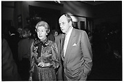 Duchess and Duke of Devonshire, Private view Christies. 23 September 1985. SUPPLIED FOR ONE-TIME USE ONLY> DO NOT ARCHIVE. © Copyright Photograph by Dafydd Jones 66 Stockwell Park Rd. London SW9 0DA Tel 020 7733 0108 www.dafjones.com