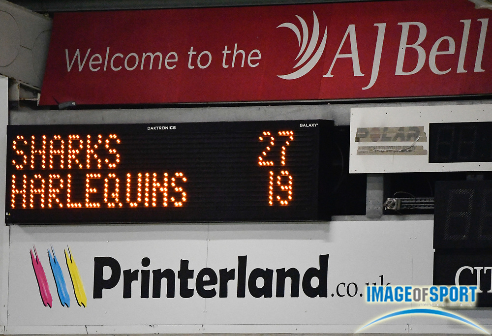 The scoreboard shows the final score after The Premiership Rugby Cup Final at The AJ Bell Stadium, Eccles, Greater Manchester, United Kingdom, Monday, September 21, 2020. (Steve Flynn/Image of Sport)