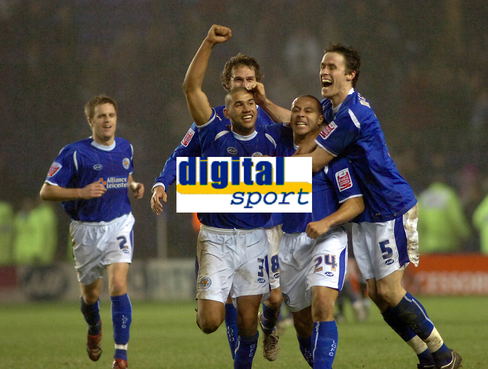 Photo: Kevin Poolman.<br />Leicester City v Fulham. The FA Cup. 06/01/2007. Danny Cadamarteri (no24) of Leicester celebrates his goal with team mates Patrick Kisnorbo (left) and Patrick McCarthy (right).