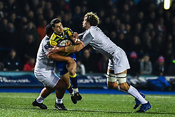 Tomos Williams of Cardiff Blues is tackled by Charlie Faumuina and Richie Gray of Toulouse - Mandatory by-line: Craig Thomas/JMP - 14/01/2018 - RUGBY - BT Sport Cardiff Arms Park - Cardiff, Wales - Cardiff Blues v Toulouse - European Rugby Challenge Cup