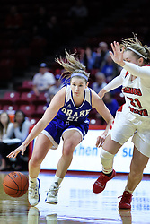 NORMAL, IL - January 06: Sammie Bachrodt guarded by Kayel Newland during a college women's basketball game between the ISU Redbirds and the Drake Bulldogs on January 06 2019 at Redbird Arena in Normal, IL. (Photo by Alan Look)