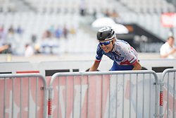 Shara Gillow speeds out of the stadium at La Course High Speed Pursuit 2017 - a 22.5 km pursuit road race on July 22, 2017, in Marseille, France. (Photo by Sean Robinson/Velofocus.com)