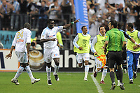 FOOTBALL - FRENCH LEAGUE CUP 2010/2011 - FINAL - OLYMPIQUE MARSEILLE v MONTPELLIER HSC - 23/04/2014 - PHOTO JEAN MARIE HERVIO / DPPI - JOY TAYE TAIWO (OM) AFTER HIS GOAL