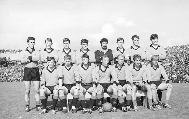 The Down team before the All Ireland Senior Gaelic Football Final Kerry v Down in Croke Park on the 22nd September 1968. Down 2-12 Kerry 1-13.<br /> <br /> Back row (from left) Tom O'Hare, John Murphy, Ray McConville, Willie Doyle, Danny Kelly, Sean O'Neill, Jim Milligan, Dan McCartan. <br /> Front row (from left) Brendan Sloan, Peter Rooney, Micheal Cole, Joe Lennon (capt), Paddy Doherty, Colm  McAlarney, John Purdy.