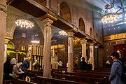 Interior view of Saint Virgin Mary's Coptic Orthodox Church, also known as the Hanging Church,  Kom Ghorab, Old Cairo, Egypt.