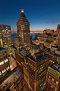 architecture Photography New York City | New York City Skyline and Standard Oil Building at the blue hour taken from a rooftop, Manhattan, financial district, NYC, USA