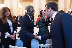 French Minister in charge of Equality between Men and Women Marlene Schiappa, Denis Mukwege and Emmanuel Macron during the first meeting of the G7 Gender Equality Advisory Council in Paris, France, on February 19, 2019. Photo by Jacques Witt/Pool/ABACAPRESS.COM