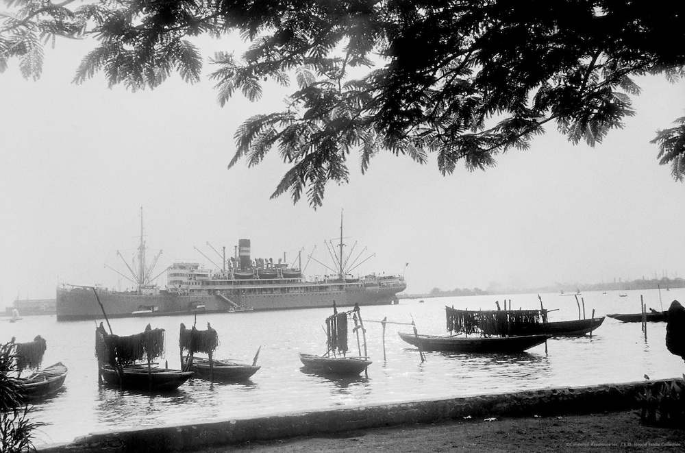 Boats in Marina, Men Assembled Under Tree, Lagos, Nigeria, Africa, 1937