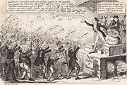 Show of Hands for a Liberal Candidate':  Electioneering and Bribery with those with a vote holding up their hands to catch the money a Parliamentary candidate is throwing out to them.  Cartoon by George Cruikshank published 1843.