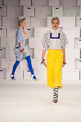 © Licensed to London News Pictures. 01/06/2014. London, England. Collection by Sami Armstrong from the Manchester School of Art. Graduate Fashion Week 2014, Runway Show at the Old Truman Brewery in London, United Kingdom. Photo credit: Bettina Strenske/LNP