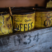 Large yellow cans of coffee in a storage area at Wordie House. Originally known as Base F and later renamed after James Wordie, chief scientist on Ernest Shackleton's major Antarctic expedition, Wordie House dates to the mid-1940s. It was one of a handful of bases built by the British as part of a secret World War II mission codenamed Operation Tabarin. The house is preserved intact and stands near Vernadsky Research Base in the Argentine Islands in Antarctica.