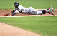CHICAGO - JUNE 29:  Nelson Cruz #23 of the Minnesota Twins slides safely into second base against the Chicago White Sox on June 29, 2019 at Guaranteed Rate Field in Chicago, Illinois.  (Photo by Ron Vesely)  Subject:  Nelson Cruz