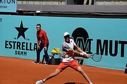 May 5, 2019 - Madrid, Spain - Hubert Hurkacz (POL) in hir match against Roberto Carballes Baena (SPA) during day two of the Mutua Madrid Open at La Caja Magica in Madrid on 5th May, 2019. (Credit Image: © Juan Carlos Lucas/NurPhoto via ZUMA Press)