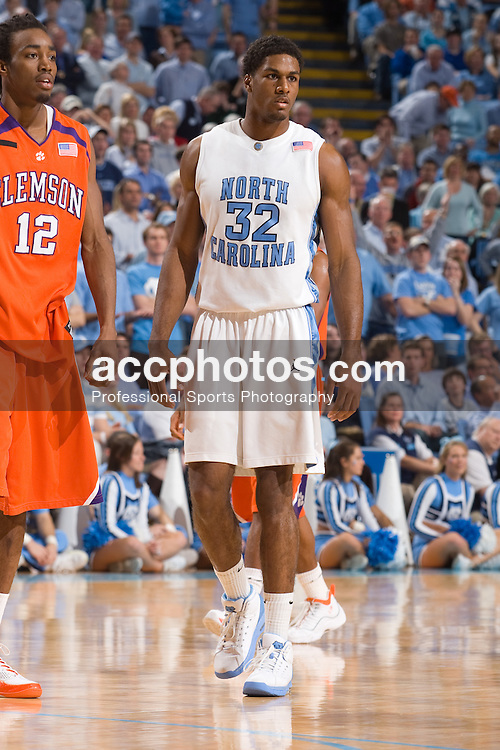 10 February 2008: North Carolina Tar Heels forward Alex Stepheson (32) during a 93-103 (2OT) win over the Clemson Tigers at the Dean Smith Center in Chapel Hill, NC.