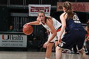 January 8, 2017: Laura Cornelius #1 of Miami in action during the NCAA basketball game between the Miami Hurricanes and the Notre Dame Fighting Irish in Coral Gables, Florida. The 'Irish defeated the 'Canes 67-55.