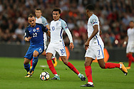 Dele Alli of England © passes the ball to Marcus Rashford of England ®.  FIFA World cup qualifying match, European group F, England v Slovakia at Wembley Stadium in London on Monday 4th September 2017.<br /> pic by Andrew Orchard, Andrew Orchard sports photography.