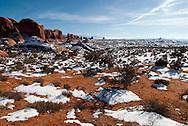 Garden of Eden, La Sal Mountains, Arches National Park, Utah, winter.