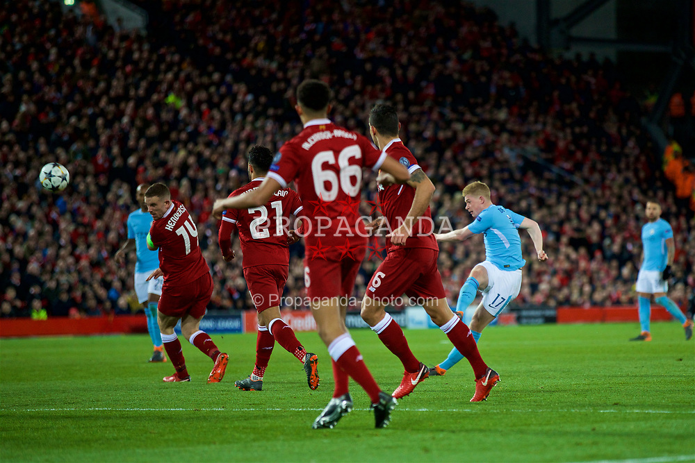 LIVERPOOL, ENGLAND - Wednesday, April 4, 2018: Manchester City's Kevin De Bruyne shoots during the UEFA Champions League Quarter-Final 1st Leg match between Liverpool FC and Manchester City FC at Anfield. (Pic by David Rawcliffe/Propaganda)