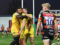 Rugby Union - 2020 / 2021 European Rugby Heineken Champions Cup - Round of 16 - Gloucester vs La Rochelle - Kingsholm<br /> <br /> La Rochelle's Dillyn Leyds celebrates scoring his sides first try.<br /> <br /> COLORSPORT/ASHLEY WESTERN