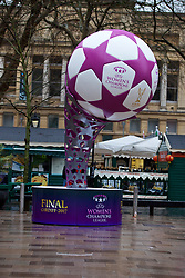 CARDIFF, ENGLAND - Tuesday, February 21, 2017: A UWCL statue of the match ball in the Hayes, Cardiff to promote the men's and women's UEFA Champions League Finals being staged in Cardiff this June. (Pic by Paul Greenwood/Propaganda)