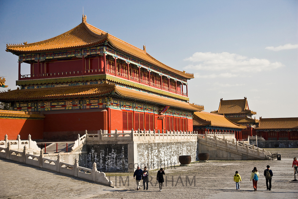 Tourists at the Emperor's Warehouse in the Forbidden City, Beijing, China