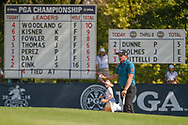 Paul Dunne (IRE) is introduced on the the green on 9 during 2nd round of the 100th PGA Championship at Bellerive Country Club, St. Louis, Missouri. 8/11/2018.<br /> Picture: Golffile   Ken Murray<br /> <br /> All photo usage must carry mandatory copyright credit (© Golffile   Ken Murray)