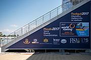 Plovdiv BULGARIA. 2017 FISA. Rowing World U23 Championships. Event Signage on the side of the Grandstand.<br /> <br /> Wednesday. PM, general Views, Course, Boat Area<br /> 12:06:58  Wednesday  19.07.17   <br /> <br /> [Mandatory Credit. Peter SPURRIER/Intersport Images].