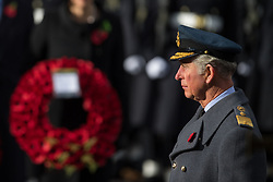 The Prince of Wales during the annual Remembrance Sunday Service at the Cenotaph memorial in Whitehall, central London.