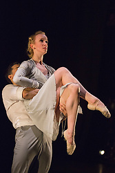"""© Licensed to London News Pictures. 18/06/2015. London, UK. Pictured: """"Give My Love to the Sunrise"""" choreographed by Morgann Runacre-Temple with Tiffany Hedman and Daniel Kraus performing. The English National Ballet (ENB) presents Choreographics, dance created by emerging and developing choreographers inspired by the theme of """"Post-War America"""" at the Lilian Baylis Studio/Sadler's Wells. Photo credit : Bettina Strenske/LNP"""