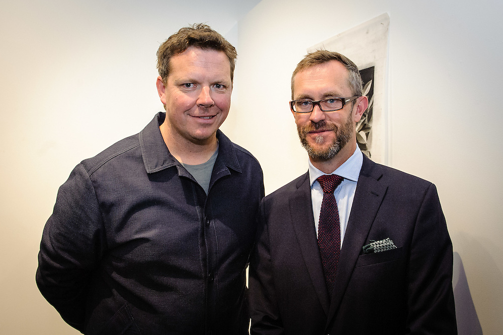 WELLINGTON, NEW ZEALAND - April 20: David Alsop and Simon Rees at Suite Gallery opening of Ans Westra living museum April 20, 2016 in Wellington, New Zealand. (Photo by Elias Rodriguez)