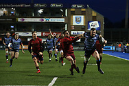 Owen Lane of Cardiff Blues runs in to score his teams 3rd try. Guinness Pro14 rugby match, Cardiff Blues v Munster Rugby at the Cardiff Arms Park in Cardiff, South Wales on Saturday 17th February 2018.<br /> pic by Andrew Orchard, Andrew Orchard sports photography.
