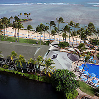 The three waters of The Kahala Hotel & Resort - the ocean, the pool, and the dolphinarium.