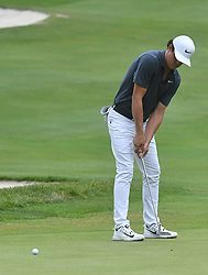 July 15, 2018 - Silvis, Illinois, U.S. - SILVIS, IL - JULY 15:  Chris Stroud putts on the #1 green during the final round of the John Deere Classic on July 15, 2018, at TPC Deere Run, Silvis, IL.  (Photo by Keith Gillett/Icon Sportswire) (Credit Image: © Keith Gillett/Icon SMI via ZUMA Press)