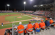 Virginia fans watch from the upper deck during the game against Arkansas Saturday night at Davenport Field in Charlottesville, VA. Photo/The Daily Progress/Andrew Shurtleff