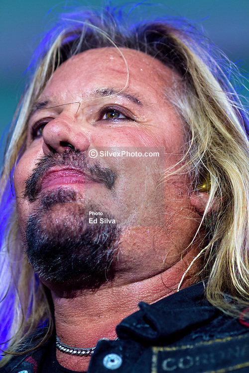 LONG BEACH, CA - APRIL 18 Musician Vince Neil, former lead vocalist of heavy metal band Mötley Crüe, performed with his band at the 2015 Toyota Grand Prix of Long Beach. The fans danced and sung along to some classic Led Zeppelin and Mötley Crüe's covers (Whole LOTTA love, Girls! Girls!, same 'ol situation among others). Vince also served as the honorary starter for the Pro/Celebrity Race held earlier at 11:40AM. 2015 April 18. Byline, credit, TV usage, web usage or linkback must read SILVEXPHOTO.COM. Failure to byline correctly will incur double the agreed fee. Tel: +1 714 504 6870.