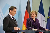 DEU, Deutschland, Germany, Berlin, 09.01.2012: <br />Bundeskanzlerin Angela Merkel (CDU) und der französische Staatspräsident Nicolas Sarkozy während einer Pressekonferenz im Bundeskanzleramt .