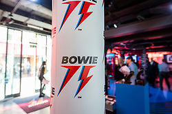 © Licensed to London News Pictures. 25/10/2021. LONDON, UK.  A general view at the opening of a David Bowie pop-up shop in Heddon Street in the West End.  Open 75 days before the late singer's 75th birthday, the pop-up is located close to where Bowie posed as Ziggy Stardust on the cover of his 1972 album The Rise and Fall of Ziggy Stardust and the Spider from Mars.  The store sells limited edition records and memorabilia curated by his estate and will be open until January 2022. A sister shop will open in New York and both form part of a year long celebration of David Bowie's 75th birthday.  Photo credit: Stephen Chung/LNP