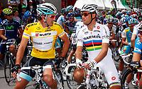 Sykkel<br /> 12.06.2011<br /> Foto: imago/Digitalsport<br /> NORWAY ONLY<br /> <br /> Crans Montana SUI Herren Radsport Tour de Suisse 2011 1. Etappe Fabian Cancellara SUI / Team Leopard Trek und Thor Hushovd NOR / Team Garmin Cervelo