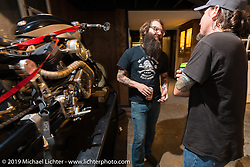 Andy James from Revival Cycles at the pre-party for the Handbuilt Motorcycle Show at Revival Cycles. Austin, TX. April 9, 2015.  Photography ©2015 Michael Lichter.