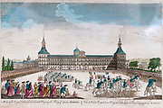Royal Palace, Madrid, Spain. a hand painting of the courtyard