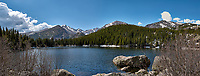 Lily Lake panorama. Rocky Mountain National Park. Composite of three images taken with a Nikon D2xs camera and 17-55 mm f/2.8 lens.
