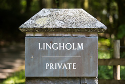 © London News Pictures. Pictured - The entrance to the Lingholm estate in Cumbria. Previously unseen pictures of Beatrix potter with her family have been unearthed during the purchase and restoration of the Lingholm Estate, the Potter family holiday home, where Beatrix potter drew inspiration for many of her most famous characters. Famous books such as Peter Rabbit and Squirrel Nutkin were inspired by the surroundings of the Cumbria estate, which is being opened to the public for the first time. Photo credit: Andrew McCaren/LNP WORDS AVAILABLE HERE http://tinyurl.com/oyb7url